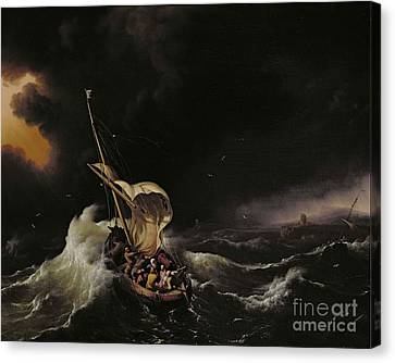 Christ In The Storm On The Sea Of Galilee Canvas Print by Ludolph Backhuysen