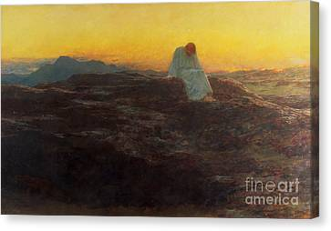 Oil On Canvas Print - Christ In The Wilderness by Briton Riviere