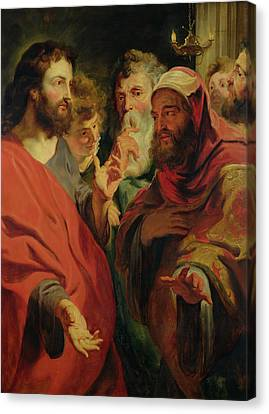 Christ Instructing Nicodemus Canvas Print by Jacob Jordaens