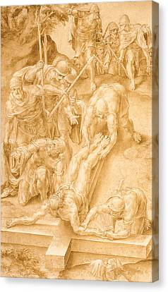The Wooden Cross Canvas Print - Christ Nailed To The Cross by Lelio Orsi da Novellara