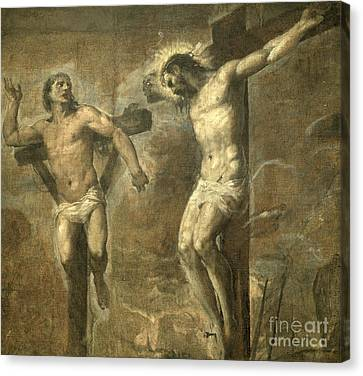 Christ On The Cross And The Good Thief Canvas Print by Titian