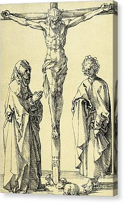 Saint Hope Canvas Print - Christ On The Cross With Mary And John The Baptist by Albrecht Durer