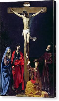 Christ On The Cross With The Virgin Mary Magdalene St John And St Francis Of Paola Canvas Print by Nicolas Tournier