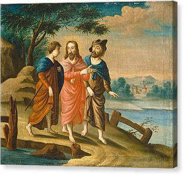 Christ On The Road To Emmaus Canvas Print by American 18th Century