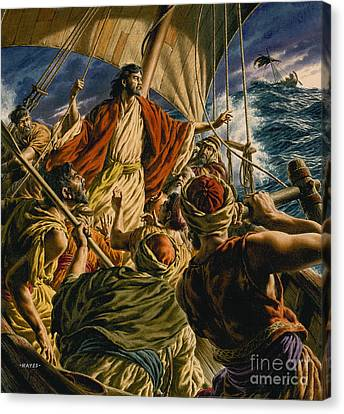 Storm Canvas Print - Christ On The Sea Of Galilee by Jack Hayes