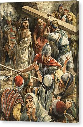 The Wooden Cross Canvas Print - Christ On The Way To His Crucifixion by Henry Coller