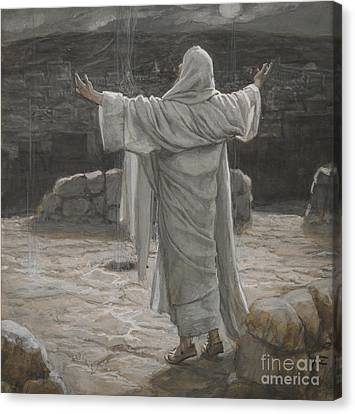 Christ Retreats To The Mountain At Night Canvas Print by Tissot
