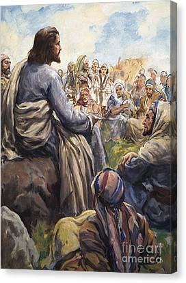 Christ Teaching Canvas Print by English School