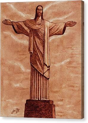 Christ The Redeemer Statue Original Coffee Painting Canvas Print by Georgeta Blanaru