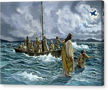 God Canvas Print - Christ Walking On The Sea Of Galilee by Anonymous