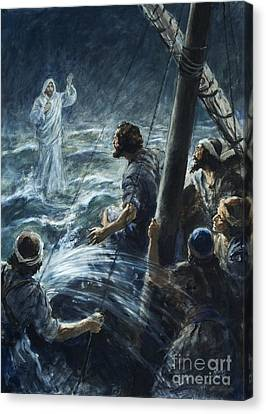 Christ Walking On The Sea Of Galilee Canvas Print by Henry Coller