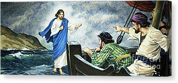 Christ Walking On The Water Canvas Print by English School