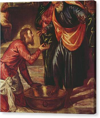 Christ Washing The Feet Of The Disciples Canvas Print by Tintoretto