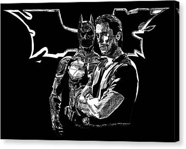 The Dark Knight Rises Canvas Print - Christian Bale And The Dark Knight Rises by Vittorio Magaletti