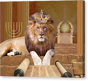 Christian Religious Art Of Jesus Paintings Lion Of The Tribe Of Judah Canvas Print by Dale Kunkel Art