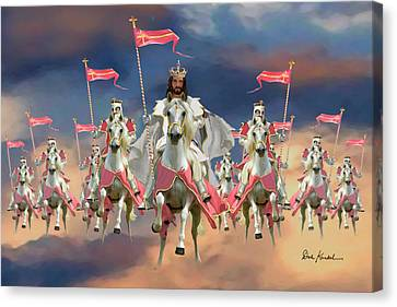 Christian Religious Art Of Jesus Paintings Salvation Riding On The Clouds Canvas Print by Dale Kunkel Art