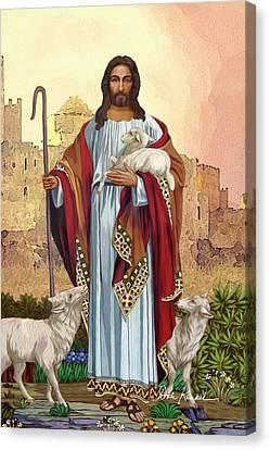Christian Religious Art Of Jesus Paintings The Good Shepherd Canvas Print by Dale Kunkel Art
