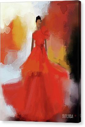 Christian Siriano Red Dress Fashion Illustration Canvas Print by Beverly Brown