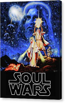 Christian Star Wars Parody - Soul Wars Canvas Print by Dave Luebbert