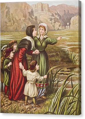 Christiana And Mercy At The Slough Of Canvas Print by Vintage Design Pics