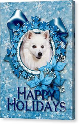 Christmas - Blue Snowflakes American Eskimo Canvas Print by Renae Laughner