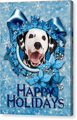 Christmas - Blue Snowflakes Dalmatian Canvas Print by Renae Laughner