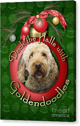 Christmas - Deck The Halls With Goldendoodles Canvas Print by Renae Laughner