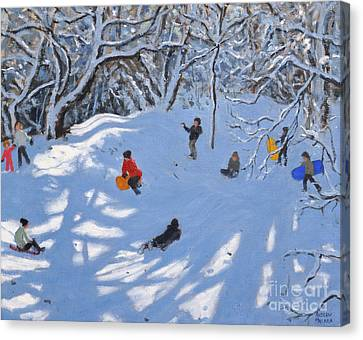 Christmas, Allestree Woods, Derby Canvas Print by Andrew Macara