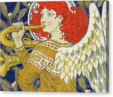 Brass Leafs Canvas Print - Christmas Angel by Eugene Grasset