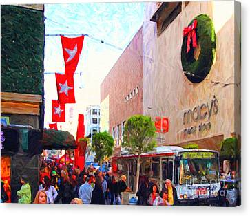 Christmas At Macys In San Francisco . Photoart Canvas Print by Wingsdomain Art and Photography
