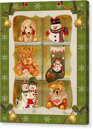 Buffet Canvas Print - Christmas At The Cuddly House I by Angeles M Pomata
