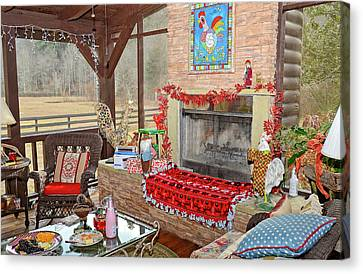 Christmas At The Farm Canvas Print by Susan Leggett