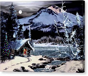 Christmas At The Lake V2 Canvas Print