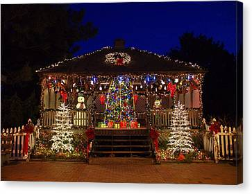 Christmas At The Lighthouse Gazebo Canvas Print
