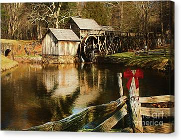 Canvas Print featuring the photograph Christmas At The Mill by Darren Fisher