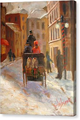 Christmas Buggy Ride  Canvas Print by Claiborne Hemphill-Trinklein