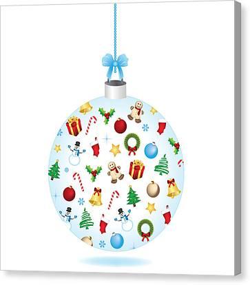 Christmas Bulb Art And Greeting Card Canvas Print