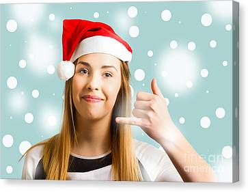 Christmas Calling Girl Canvas Print by Jorgo Photography - Wall Art Gallery