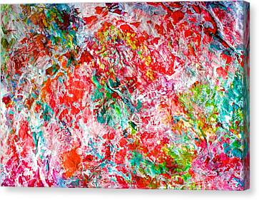 Canvas Print featuring the painting Christmas Candy Color Poem by Polly Castor