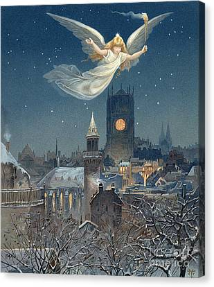 Starlight Canvas Print - Christmas Card by Thomas Moran