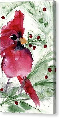 Canvas Print featuring the painting Christmas Cardinal by Dawn Derman