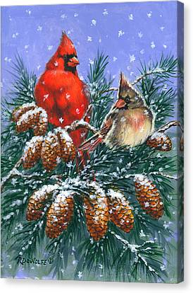 Snow Canvas Print - Christmas Cardinals #1 by Richard De Wolfe