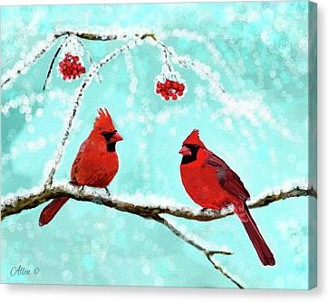 Canvas Print featuring the painting Christmas Cardinals by Leslie Allen
