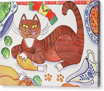 Christmas Cat And The Turkey Canvas Print by Cathy Baxter