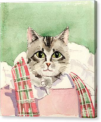 Christmas Cat Canvas Print by Arline Wagner