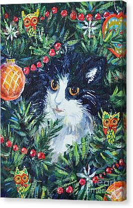 Christmas Catouflage Canvas Print by Li Newton