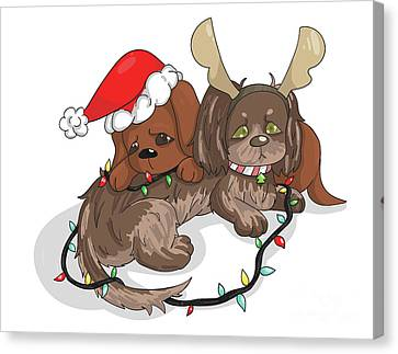 Christmas Dachshund Canvas Print by Veronica Ely