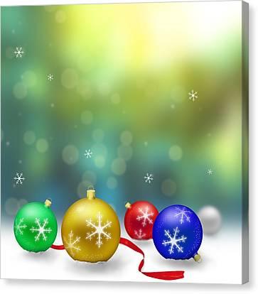 Christmas Decoration With Snow And Bokeh Canvas Print by Miroslav Nemecek