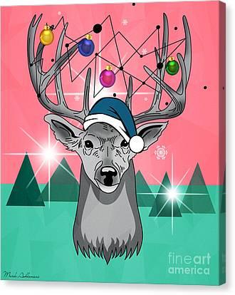 Christmas Deer Canvas Print by Mark Ashkenazi