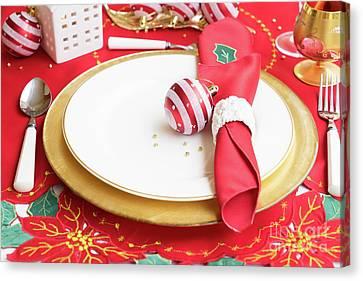 Dinner Party Invitation Canvas Print - Christmas Dinner by Anastasy Yarmolovich